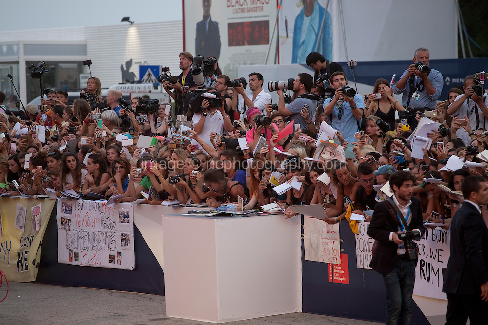 Fans wait for Johnny Depp at the gala screening for the film Black Mass at the 72nd Venice Film Festival, Friday September 4th 2015, Venice Lido, Italy.