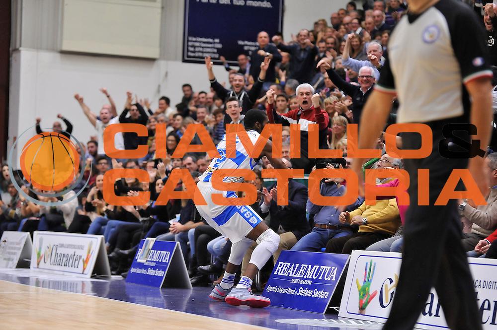 DESCRIZIONE : Campionato 2014/15 Dinamo Banco di Sardegna Sassari - Olimpia EA7 Emporio Armani Milano<br /> GIOCATORE : Shane Lawal<br /> CATEGORIA : Ritratto Esultanza<br /> SQUADRA : Dinamo Banco di Sardegna Sassari<br /> EVENTO : LegaBasket Serie A Beko 2014/2015<br /> GARA : Dinamo Banco di Sardegna Sassari - Olimpia EA7 Emporio Armani Milano<br /> DATA : 07/12/2014<br /> SPORT : Pallacanestro <br /> AUTORE : Agenzia Ciamillo-Castoria / Claudio Atzori<br /> Galleria : LegaBasket Serie A Beko 2014/2015<br /> Fotonotizia : Campionato 2014/15 Dinamo Banco di Sardegna Sassari - Olimpia EA7 Emporio Armani Milano<br /> Predefinita :