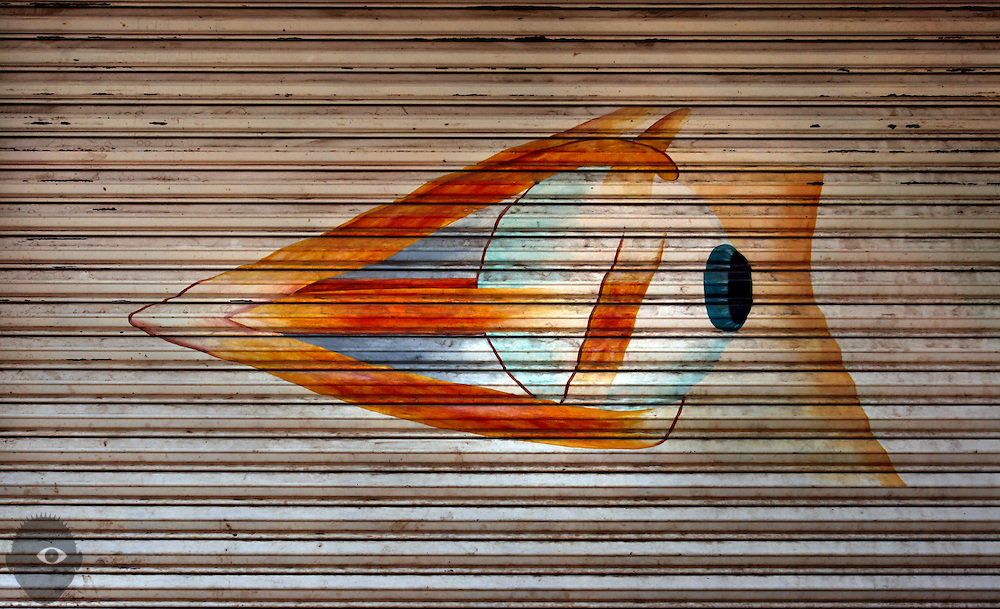 The muscles about the eye are shown in a drawing on the side of an optometrists office building  in Lake Atitlan, Guatemala. Eye health has been greatly improved throughout the remote areas by the work of volunteer organizations like Enfoque Ixcan and the Amigos Eyecare students.