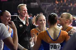 04-08-2018 TURNEN: EUROPEAN CHAMPIONSHIPS ARTISTIC GYMNASTICS: GLASGOW<br /> Dames landenteam turnen finale. De emoties lopen hoop op bij de dames Celine van Gerner (NED), Vera van Pol (NED), Sanne Wevers (NED), Naomi Visser (NED) en Tisha Volleman (NED. Zij winnen verranssend brons. <br /> <br /> Foto: Margarita Bouma