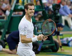 30.06.2014, All England Lawn Tennis Club, London, ENG, ATP Tour, Wimbledon, im Bild Andy Murray (GBR) celebrates after winning the Gentlemen's Singles 4th Round match 6-4, 6-4, 7-6 (6) on day seven // 15065000 during the Wimbledon Championships at the All England Lawn Tennis Club in London, Great Britain on 2014/06/30. EXPA Pictures © 2014, PhotoCredit: EXPA/ Propagandaphoto/ David Rawcliffe<br /> <br /> *****ATTENTION - OUT of ENG, GBR*****