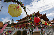 Decorations are seen at Hsi Lai Temple on February 8, 2013 in LOS Angeles, California, ahead of the Lunar New Year. Preparations continue for the Lunar New Year which will celebrate the Year of the Snake on February 10.  (Photo by Ringo Chiu/PHOTOFORMULA.com).
