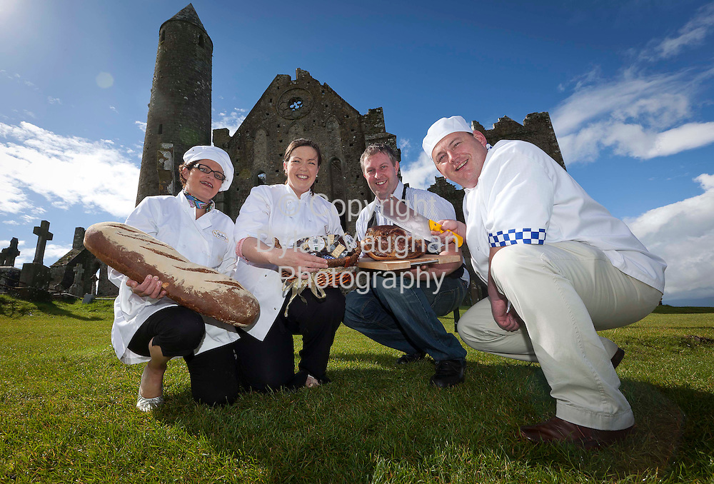 14/7/2010.free picture no charge for use.Tipperary Food Producers from left  Baker Nuala Hickey, Hickey Bakery; Mairin Byrne,Inch House; JJ Crowe, Crowes Farm Artisan Foods and Butcher Pat Whelan, James Whelan Butchers gathered at the foot of the Rock of Cashel to launch the upcoming annual 'Long Table Dinner' which will take place across four towns in County Tipperary on August 25 during National Heritage Week, see www.tipperaryfoodproducers.com for full details. In keeping with custom, only food from Tipperary will be served at the traditional feast. Fresh, seasonal produce from over 30 food producers - all members of the Tipperary Food Producers group .Photograph Dylan Vaughan.
