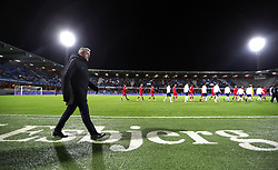 England U21 manager Aidy Boothroyd and the teams walk out for the international friendly match at the Blue Water Arena, Esbjerg.