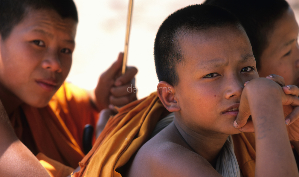 Young monks sit under umbrella, Ban Pak Ou, Luang Phrabang, Laos