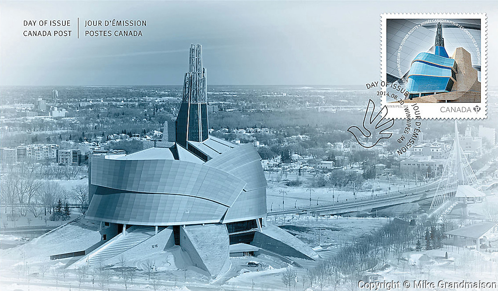PRODUCT: First Day Issue Cover for Postage Stamp<br /> TITLE: Canadian Museum for Human Rights<br /> CLIENT: Canada Post