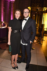 Rafe Spall and his wife Elize du Toit at The Sugarplum Dinner 2017 to benefit the type 1 diabetes charity JDRF held at the Victoria & Albert Museum, Cromwell Road, London England. 14 November 2017.<br /> Photo by Dominic O'Neill/SilverHub 0203 174 1069 sales@silverhubmedia.com