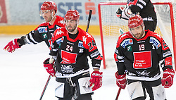 13.12.2015, Tiroler Wasserkraft Arena, Innsbruck, Österreich, EBEL, HC TWK Innsbruck die Haie vs HC Orli Znojmo, 30. Runde, im Bildvl.:  Dustin Vanballegooie (HC TWK Innsbruck Die Haie), Florian Pedevilla (HC TWK Innsbruck Die Haie), Tyler Spurgeon (HC TWK Innsbruck Die Haie) // during the Erste Bank Icehockey League 30th round match between HC TWK Innsbruck  die Haie and HC Orli Znojmo at the Tiroler Wasserkraft Arena in Innsbruck, Austria on 2015/12/13. EXPA Pictures © 2015, PhotoCredit: EXPA/ Jakob Gruber