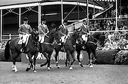 07/08/1987<br /> 08/07/1987<br /> 07 August 1987<br /> Bank of Irelands Nations Cup for the Aga Khan trophy competition at the Dublin Horse Show at the RDS, Dublin. The Swiss team.