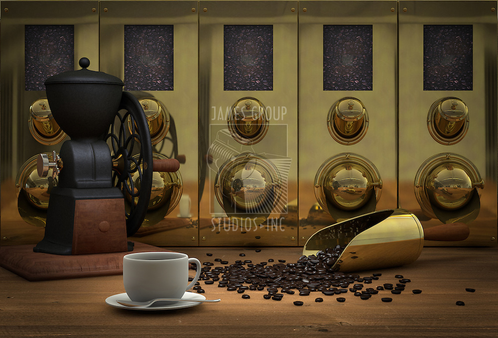 Coffee still life with a coffee cup and a brass coffee scoop with spilled coffee beans on a wood table next to an antique coffee grinder with brass coffee silos in the background