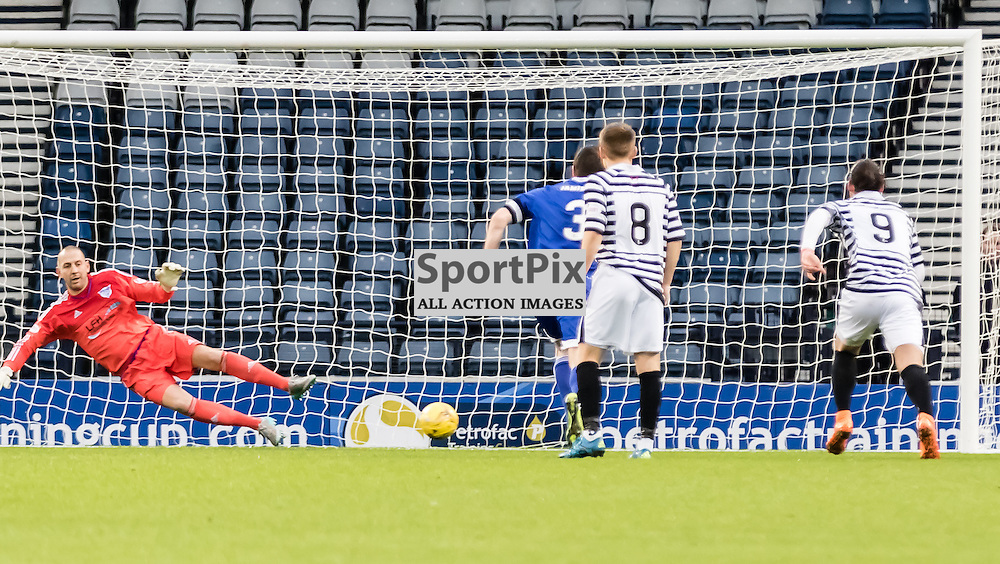 Peterhead's 'keeper Graeme Smith dives the the wrong way allowing Queen's Park's Paul Woods to equalise from the spot during the Queen's Park FC V Peterhead FC Petrofac Training Cup semi-final played at Hampden Park, Glasgow on 14th November 2015; (c) BERNIE CLARK | SportPix.org.uk