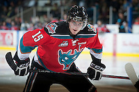 KELOWNA, CANADA - NOVEMBER 3: Colton Sissons #15 of the Kelowna Rockets faces off against the Prince George Cougars at the Kelowna Rockets on November 3, 2012 at Prospera Place in Kelowna, British Columbia, Canada (Photo by Marissa Baecker/Shoot the Breeze) *** Local Caption ***