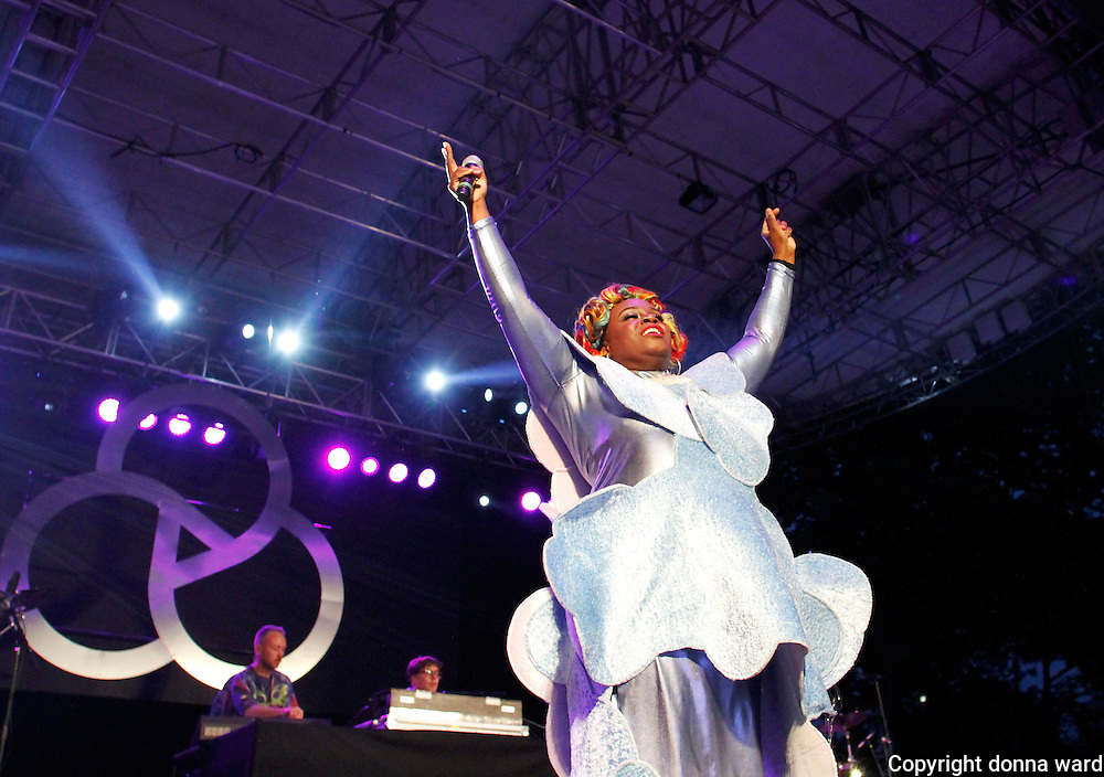 Sharlene Hector of the Basement Jaxx performs during the 30th Anniversary season of Central Park SummerStage in Rumsey Playfield in New York City, New York on July 01, 2015.