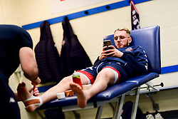Jordan Nicholls of Bristol Flyers in the changing room prior to tippled off - Photo mandatory by-line: Ryan Hiscott/JMP - 17/01/2020 - BASKETBALL - SGS Wise Arena - Bristol, England - Bristol Flyers v London City Royals - British Basketball League Championship