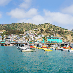 Catalina Island Avalon Harbor very high resolution panoramic image. Includes downtown Avalon, Catalina Casino, and Avalon Pier along Avalon Harbor. Beautiful Santa Catalina Island is a popular travel destination off the coast of Southern California in the United States of Amercia. Panoramic image ratio is 1:3. Copyright ⓒ 2017 Paul Velgos with All Rights Reserved.