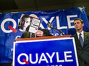 15 AUGUST 2012 - PHOENIX, AZ:   Sen JOHN MCCAIN holds up a direct mail piece sent out Rep David Schweikert against Schweikert's opponent Ben Quayle. McCain called the piece one of the lowest pieces of political advertising he had ever seen. Arizona's Republican US Senators, John McCain and Jon Kyl, announced their endorsement of Congressman Ben Quayle (R-AZ) during a press conference in Phoenix Wednesday. They decried the campaign being run by Quayle's opponent, Congressman David Schweikert (R-AZ). Both Quayle and Schweikert are freshman Congressmen from neighboring districts. They were thrown into the same district during the redistricting process and are now waging a bitter primary fight against each other.   PHOTO BY JACK KURTZ