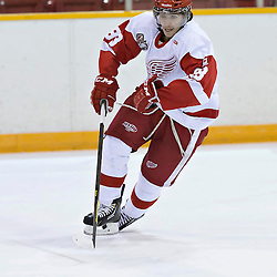 Pickering, ON - Nov 22 : Ontario Junior Hockey League Game Action between Pickering Panthers Hockey Club & Hamilton Red Wings Hockey Club , Josh LaFrance #88 of the Hamilton Redwings Hockey Club skates with the puck<br /> (Photo by Dave Powers / OJHL Images)