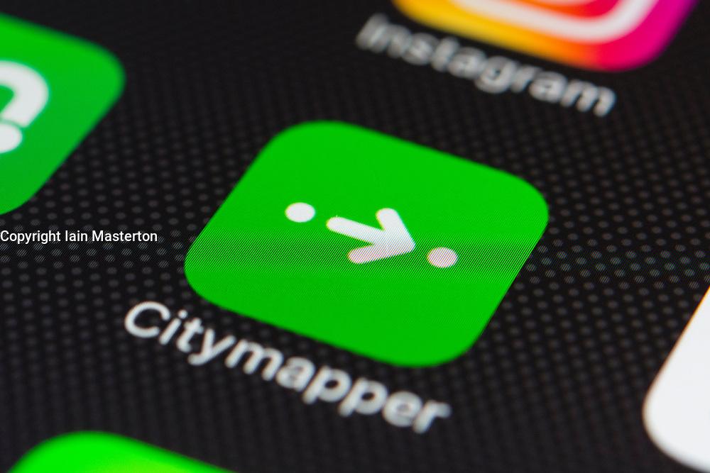 Citymapper online transport planning app close up on iPhone smart phone screen