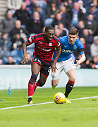 7th April 2018, Ibrox Stadium, Glasgow, Scotland; Scottish Premier League football, Rangers versus Dundee; Roarie Deacon of Dundee goes past Declan John of Rangers