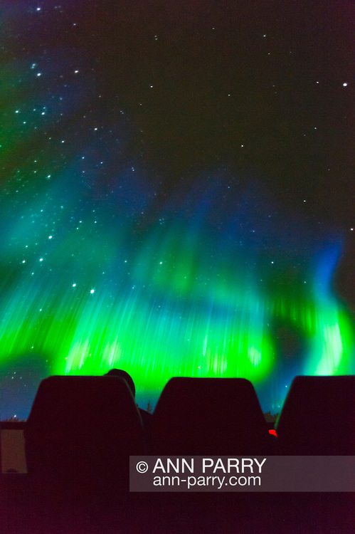 "Oct 4, 2012 - GARDEN CITY, NEW YORK U.S. - At the new JetBlue Sky Theater Planetarium at Cradle of Aviation Museum, Nassau County students watched ""We Are Astronomers"" a digital planetarium show, which included the aurora borealis, also known as Northern Lights, seen hear from top row seats in dome. The planetarium, a state-of-the-art digital projection system, officially opens this weekend."