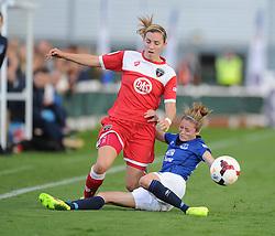 Everton ladies Danielle Turner tackles Bristol Academy's Grace Mccatty  - Photo mandatory by-line: Alex James/JMP - Mobile: 07966 386802 23/08/2014 - SPORT - FOOTBALL - Bristol  - Bristol Academy v Everton Ladies - FA Women's Super league
