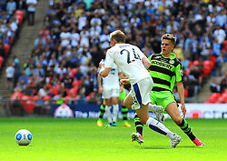 Charlie Cooper of Forest Green Rovers tackles Jeff Hughes of Tranmere Rovers- Mandatory by-line: Nizaam Jones/JMP - 14/05/2017 - FOOTBALL - Wembley Stadium- London, England - Forest Green Rovers v Tranmere Rovers - Vanarama National League Final