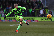 Forest Green Rovers George Williams(11) takes a free kick during the EFL Sky Bet League 2 match between Forest Green Rovers and Yeovil Town at the New Lawn, Forest Green, United Kingdom on 16 February 2019.