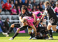 Picture by Steven Hadlow/Focus Images Tane Tu'ipulotu of Newcastle Falcons and Bradley Davies of Cardiff Blues during their Amlin Challenge Cup quarter-final match