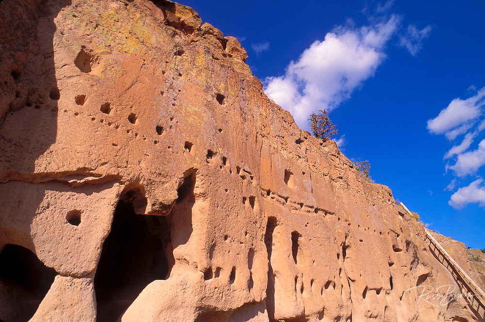 Cave dwellings and petroglyphs at Puye Cliff Dwellings, Santa Clara Pueblo Indian Reservation, New Mexico USA