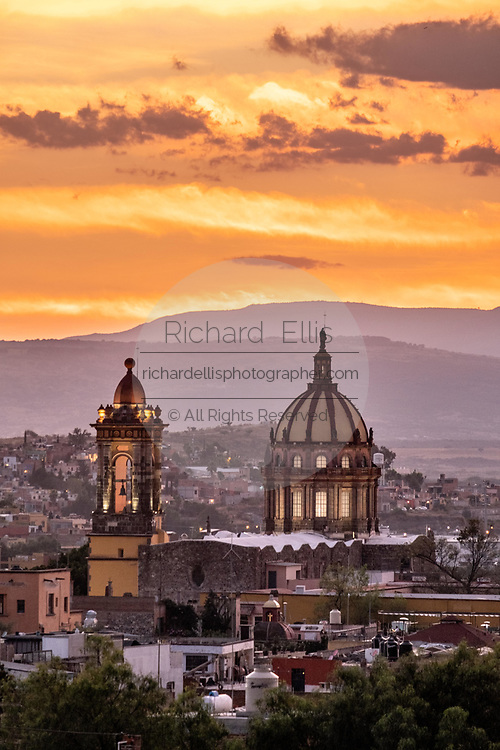 Sunset over the Church of the Immaculate Conception also called the Nuns in the historic center of San Miguel de Allende, Guanajuato, Mexico.