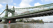 Putney, GREAT BRITAIN,  Tuesday Morning,  Cambridge and reserve crew Goldie pass under Hammersmith Bridge during their training Outing, Tideway week, on the championship course. Putney/Mortlake, Tuesday   03/04/2012 [Mandatory Credit, Peter Spurrier/Intersport-images]
