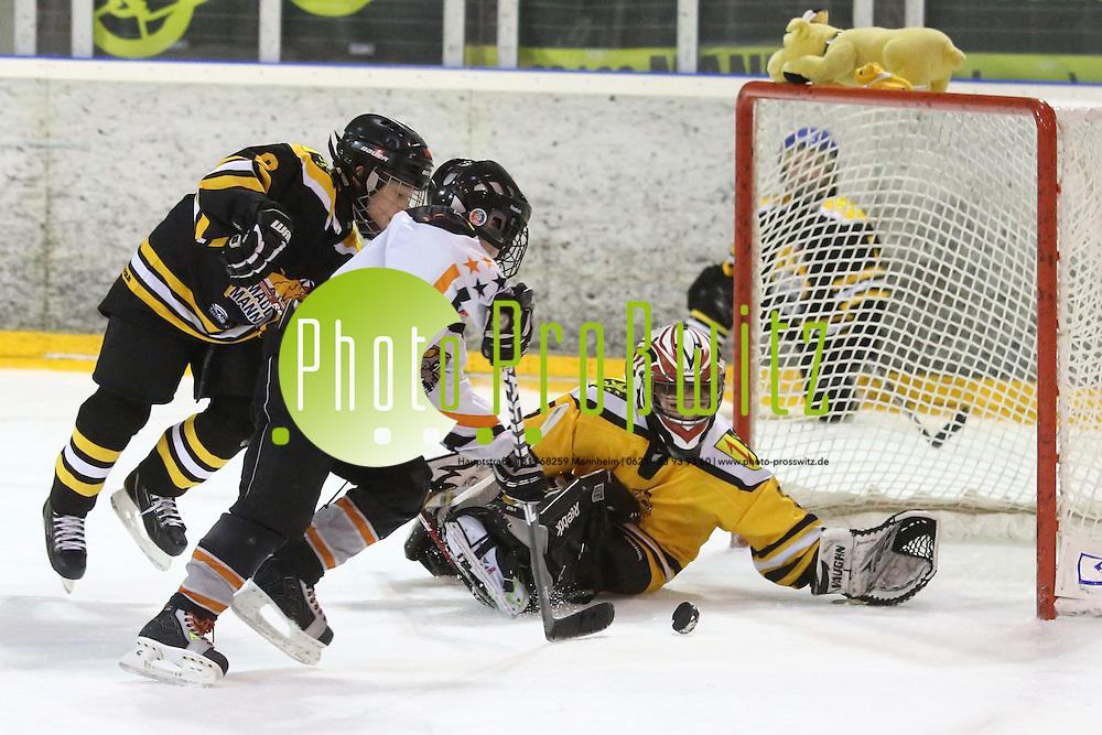 Mannheim. 28.12.12  SAP Arena. Eishockey Kids Cup. Turnier f&uuml;r Kinder.<br /> Mad Dogs Mannheim (schw) vs. ACBB Paris<br /> <br /> Bild: Markus Pro&szlig;witz 28DEC12 / masterpress /