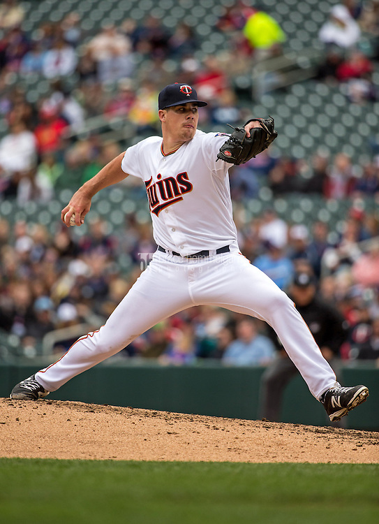 MINNEAPOLIS, MN- APRIL 19: Trevor May #65 of the Minnesota Twins pitches against the Cleveland Indians on April 19, 2015 at Target Field in Minneapolis, Minnesota. The Twins defeated the Indians 7-2. (Photo by Brace Hemmelgarn) *** Local Caption *** Trevor May