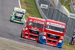 07.07.2013, Red Bull Ring, Spielberg, AUT, Truck Race Trophy, Renntag 2, im Bild Antonio Albacete, (ESP, Equipo Cepsa, #2, 2. Platz), Markus Oestreich, (GER, Truck Sport Lutz Bernau, #4, 1. Platz), Jochen Hahn, (GER, Castrol Team Hahn Racing, #1) // during the Truck Race Trophy 2013 at the Red Bull Ring in Spielberg, Austria, 2013/07/07, EXPA Pictures © 2013, PhotoCredit: EXPA/ M.Kuhnke