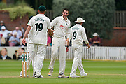 Wicket - Matthew Carter of Nottinghamshire celebrates taking the wicket of Craig Overton of Somerset during the Specsavers County Champ Div 1 match between Somerset County Cricket Club and Nottinghamshire County Cricket Club at the Cooper Associates County Ground, Taunton, United Kingdom on 10 June 2018. Picture by Graham Hunt.