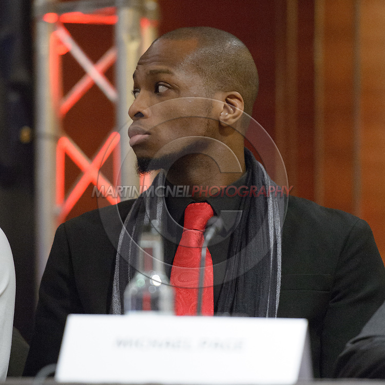 "LONDON, ENGLAND, APRIL 18, 2016: Michael Page is pictured during the event announcement press conference for ""Bellator 158: Slice vs. Thompson"" inside the Four Seasons Hotel in Park Lane, London (© Martin McNeil)"