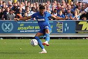AFC Wimbledon striker Jake Jervis (10) with a shot on goal during the EFL Sky Bet League 1 match between AFC Wimbledon and Portsmouth at the Cherry Red Records Stadium, Kingston, England on 13 October 2018.