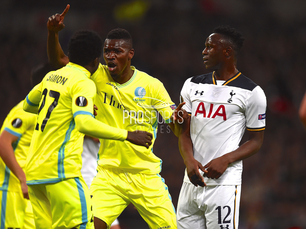 Gent player Kalifa Coulibaly celebrates their teams goal 1-1, scored by own goal by Harry Kane (not in picture) in the first half during the Europa League match between Tottenham Hotspur and KAA Gent at Wembley Stadium, London, England on 23 February 2017. Photo by Ian  Muir.