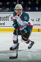 KELOWNA, CANADA - SEPTEMBER 29: Jack Cowell #8 of the Kelowna Rockets warms up against the Everett Silvertips on September 29, 2017 at Prospera Place in Kelowna, British Columbia, Canada.  (Photo by Marissa Baecker/Shoot the Breeze)  *** Local Caption ***