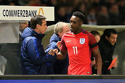 Englands Danny Welbek shakes hands with coach Gary Neville - Mandatory by-line: Matt McNulty/JMP - 26/03/2016 - FOOTBALL - Olympiastadion - Berlin, Germany - Germany v England - International Friendly