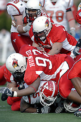 28 October 2006: Kaschiev Hunter tackles a Penguin ball carrier. Youngstown State turned off over 15,000 fans as the win blew their way, cooling off Illinois State 27-13. Nationally ranked teams Youngstown State Penguins and Illinois State Redbirds competed at Hancock Stadium on the campus of Illinois State University in Normal Illinois.<br />