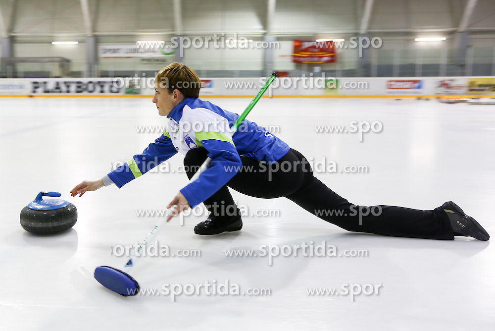 Anja Kresnik during a training session of Team Slovenia Women Curling team for 2013 European Women's Curling Championships in Norway on November 18, 2013 in Arena Zalog, Ljubljana, Slovenia.  Photo by Vid Ponikvar / Sportida