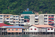 Water Village, Chinese temple and apartment blocks, in Kampung Buli Sim Sim, Sandakan, Sabah