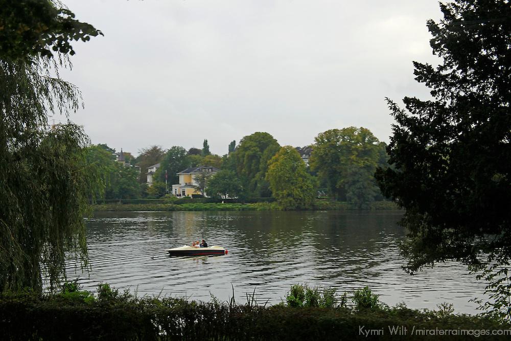 Europe, Germany, Hamburg. Canal and park of Hamburg.