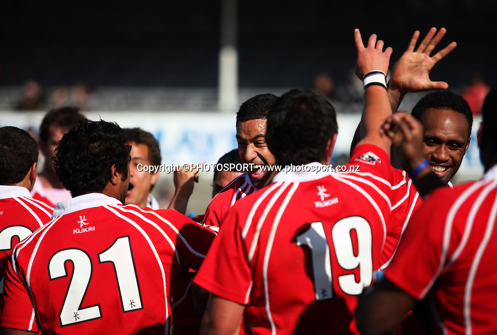 Poverty Bay team mates celebrate after winning the Heartland Championship Lochore Cup Final between, South Canterbury v Poverty Bay at Alpine Energy Stadium, Timaru, South Canterbury. Saturday 8 October 2011. Photo : Joseph Johnson/photosport.co.nz