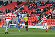 Will Grigg (9) of Wigan Athletic scores goal to go 1-0 up  during the Sky Bet League 1 match between Doncaster Rovers and Wigan Athletic at the Keepmoat Stadium, Doncaster, England on 16 April 2016. Photo by Ian Lyall.
