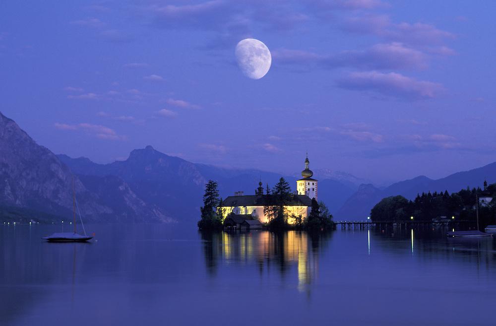 Moon over Schloss Ort; Traunsee near Gmunden; Oberoesterreich; Upper Austria; Austria