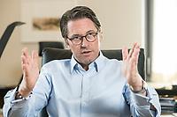 03 JUL 2019, BERLIN/GERMANY:<br /> Andreas Scheuer, CSU, Bundesminister fuer Verkehr und digitale Infrastruktur, waehrend einem Interview, in seinem Buero, Bundesministerium fuer Verkehr und digitale Infrastruktur<br /> IMAGE: 20190703-01-033