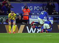 Football - 2019 / 2020 Emirates FA Cup - Fifth Round: Leicester City vs. Birmingham City<br /> <br /> A dejected Kristian Pedersen of Birmingham after Ricardo Pereira celebrates his winning goal at the King Power Stadium.<br /> <br /> COLORSPORT/ANDREW COWIE