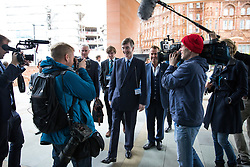 © Licensed to London News Pictures  . 03/10/2017 . Manchester , UK . JACOB REES-MOGG arrives and is surrounded by media on the afternoon of day three of the Conservative Party Conference at the Manchester Central Convention Centre . Photo credit : Joel Goodman/LNP